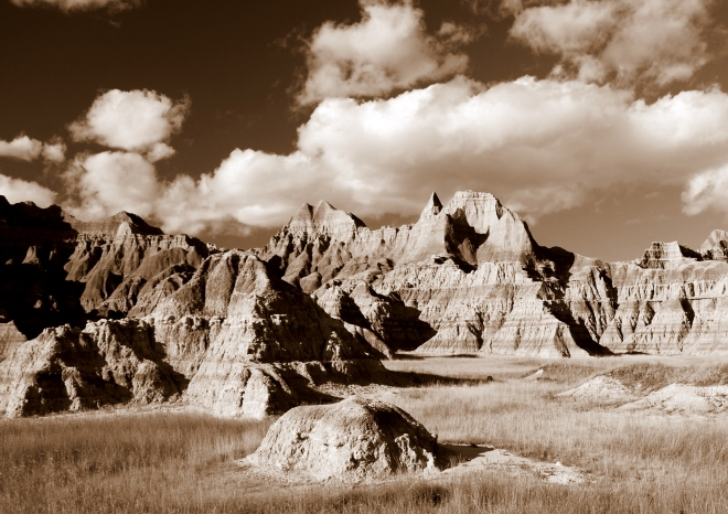 Badlands and clouds