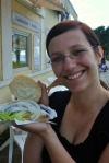 Maria and a fish sandwich!