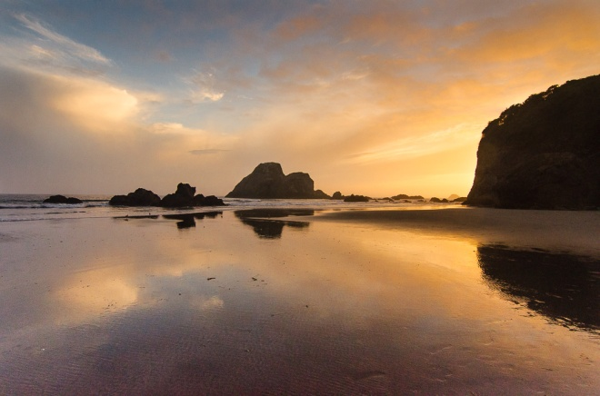 Orange Sunset at Trinidad Beach, California Coast